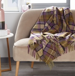 Gargrave Check Wool Throw - Lilac