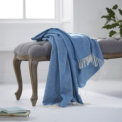 Herringbone Wool Throw - Blue