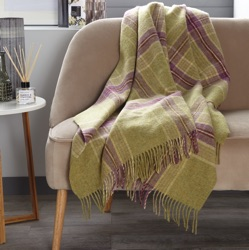 Ingleton Check Wool Throw - Lime