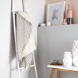 Spot Merino Wool Throw - Grey