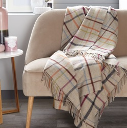Windowpane Merino Wool Throw - Beige/ Multi