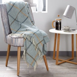Windowpane Wool Throw - Aqua