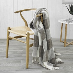 Checkerboard Wool Throw - Beige