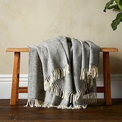 Greta Herringbone Wool Blanket   Grey