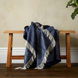 Greta Herringbone Wool Blanket - Navy
