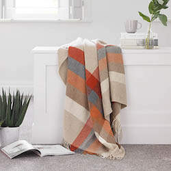 Harley Stripe Saffron Merino Wool Throw