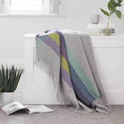 Harley Stripe Blackcurrant Shetland Wool Throw