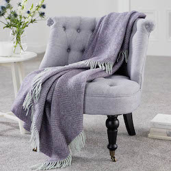 Herringbone Bright Heather Shetland Wool Throw