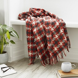 Houndstooth Merino Wool Throw - Coral