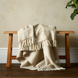 Woolroom Lilly Herringbone Pure New Wool Throw - Beige