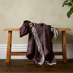 Woolroom Lilly Herringbone Pure New Wool Throw - Plum