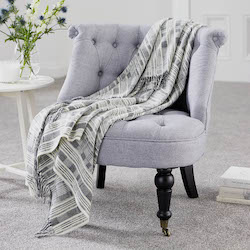 Multistripe Grey Lambswool Throw