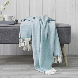 Parquet Merino Wool Throw - Aqua