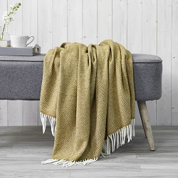 Parquet Merino Throw - Gold