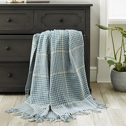Prince of Wales Merino Throw - Aqua