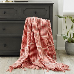 Prince of Wales Merino Throw - Coral
