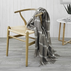 Windowpane Wool Throw - Beige