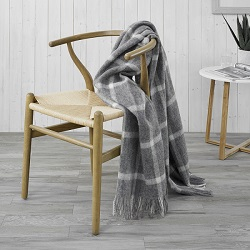 Windowpane Wool Throw - Grey