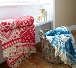 Wool Blanket - Red Fair Isle Blanket