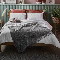 Woolroom Bayswater Paisley Merino throw - Slate