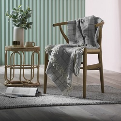Woolroom Check Merino Throw - Grey