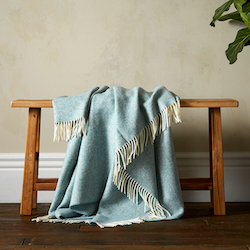 Woolroom Herringbone Shetland Throw - Duck Egg