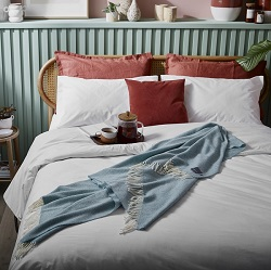 Woolroom Parquet Merino throw - Aqua