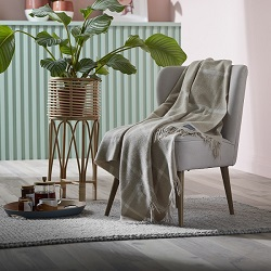 Woolroom Windowpane Merino Throw - Beige