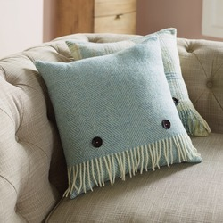 Cushion-Aqua Herringbone Cushion