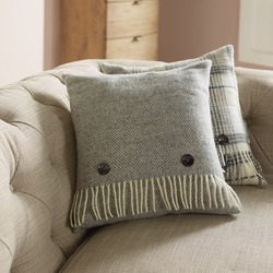 Cushion-Grey Herringbone Cushion