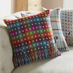 Cushion-Rainbow Spot Check Grey Reverse