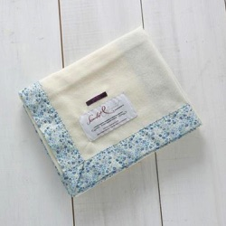 Liberty Born Blanket - Blue Trim 100% Merino Wool