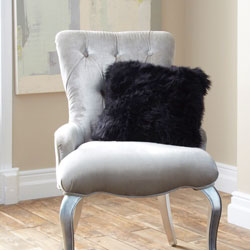 Cushion- Single Sided Sheepskin Cover - Black