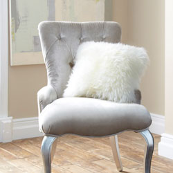 Cushion- Single Sided Sheepskin-Ivory
