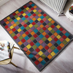 Illusion Brights Wool Rug - Campari Multi