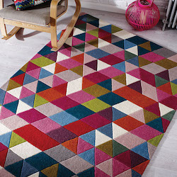 Illusion Brights Wool Rug - Prism Pink Multi