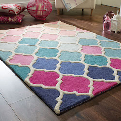 Illusion Brights Wool Rug - Rosella Pink Blue