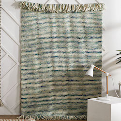 Retreat Flatweave Wool Rug - Maya Teal Turquoise