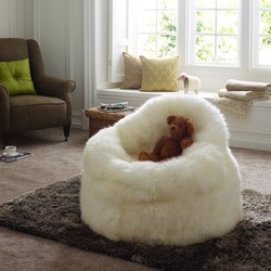Ivory Sheepskin Bean Bag Seat