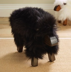 Sheepskin Sheep Stool  Black