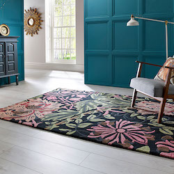 V and A Inspired Wool Rug - Honeysuckle