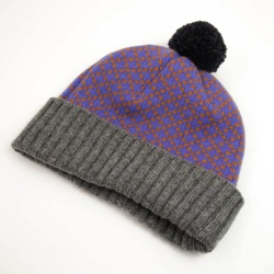 Lambswool Bobble Beanie - Cornish Blue & Spice Cross