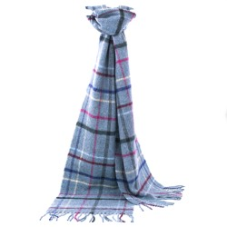 Lambswool Litton Windowpane Aqua Scarf