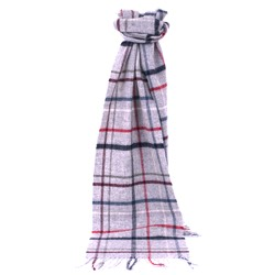 Lambswool Litton Windowpane Grey Scarf