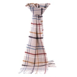 Lambswool Litton Windowpane Oatmeal Scarf