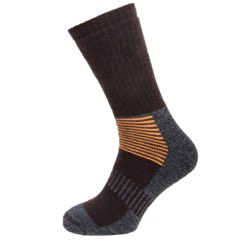 Mens boot socks Brown/charcoal/orange stripe UK 7-11