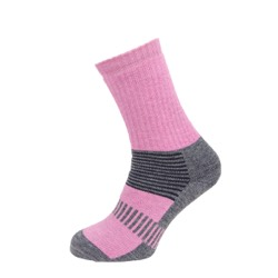 Womens Boot Sock Pink/Grey / charcoal stripe UK 4-7