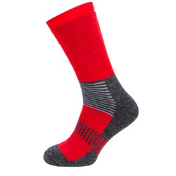 Mens boot socks Red/charcoal/grey stripe UK 7-11