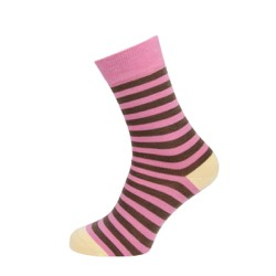 Womens Striped socks Brown/ pink stripe UK 4-7