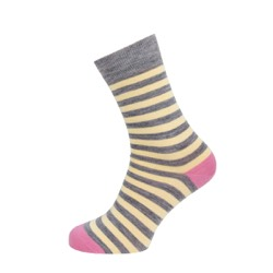 Womens Striped socks Grey/ lemon stripe UK 4-7